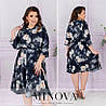 Легке плаття жіноче в квітковий принт (4 кольори) ОМ/-828 - Темно-синій
