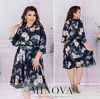 Легке плаття жіноче в квітковий принт (4 кольори) ОМ/-828 - Темно-синій, фото 1