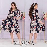 Легке плаття жіноче в квітковий принт (4 кольори) ОМ/-828 - Синій, фото 1
