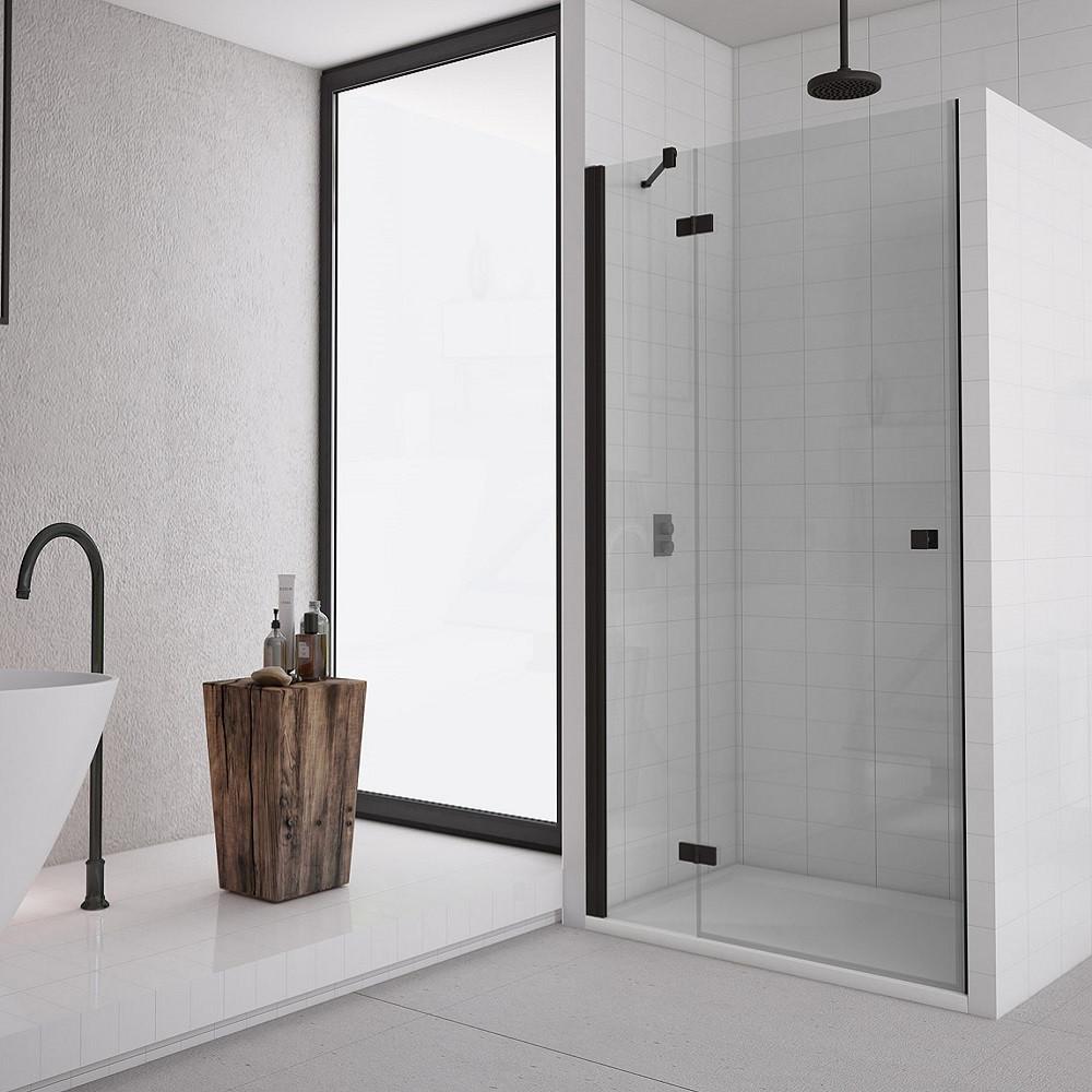 Душевые двери San Swiss AN13G12000607 Annea BlackLine, открывание левое, стекло прозрачное, профиль черный мат.