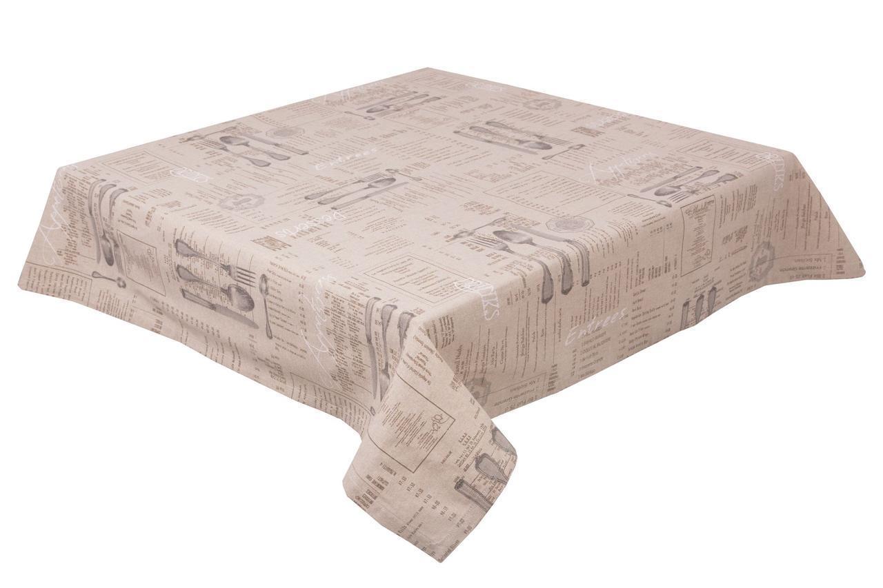 Скатерть Limaso Вилка-ложка 135*180 см хлопковая серо-кремовая арт.VL02.135х180