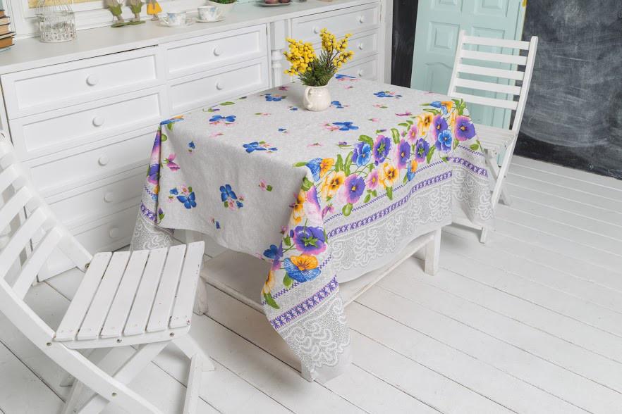 Скатерть Руно Цветы 150*150 см хлопковая арт.231.114_Квіти
