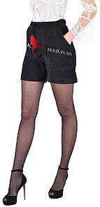 Черные вельветовые молодежные шортики