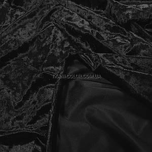 Ткань бархат-мрамор стрейчевый черный