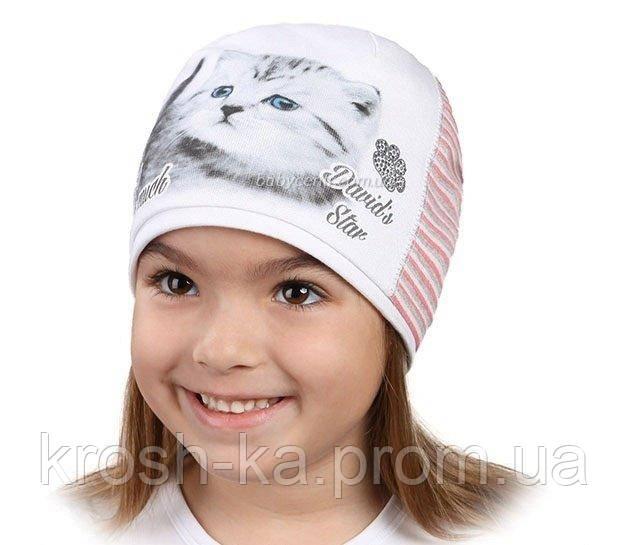 Шапка для девочки демисезонная Маринка 50(р) D.Star Украина белая 5570