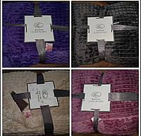 Полуторные покрывало плед велюровое полоска евро | 160х210 см | Мягкие велюровые пледы Фиолетовый