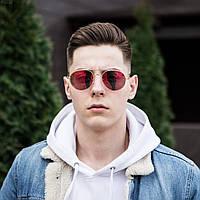 Стильные мужские солнцезащитные очки летние светлые круглые