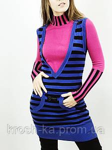 Жилет туника женская полоска бело-синяя(36)р Evona Франция 0623