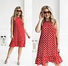 Летнее женское платье в горох (3 цвета) ТК/-6049 - Красный