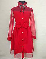Детское нарядное платье для девочек 6-14 лет красного цвета, фото 1