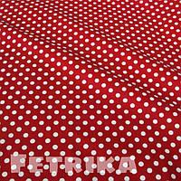 Ткань Сатин красный в белый горошек 8 мм