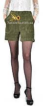 Модні молодіжні шортики з вельвету кольору олива