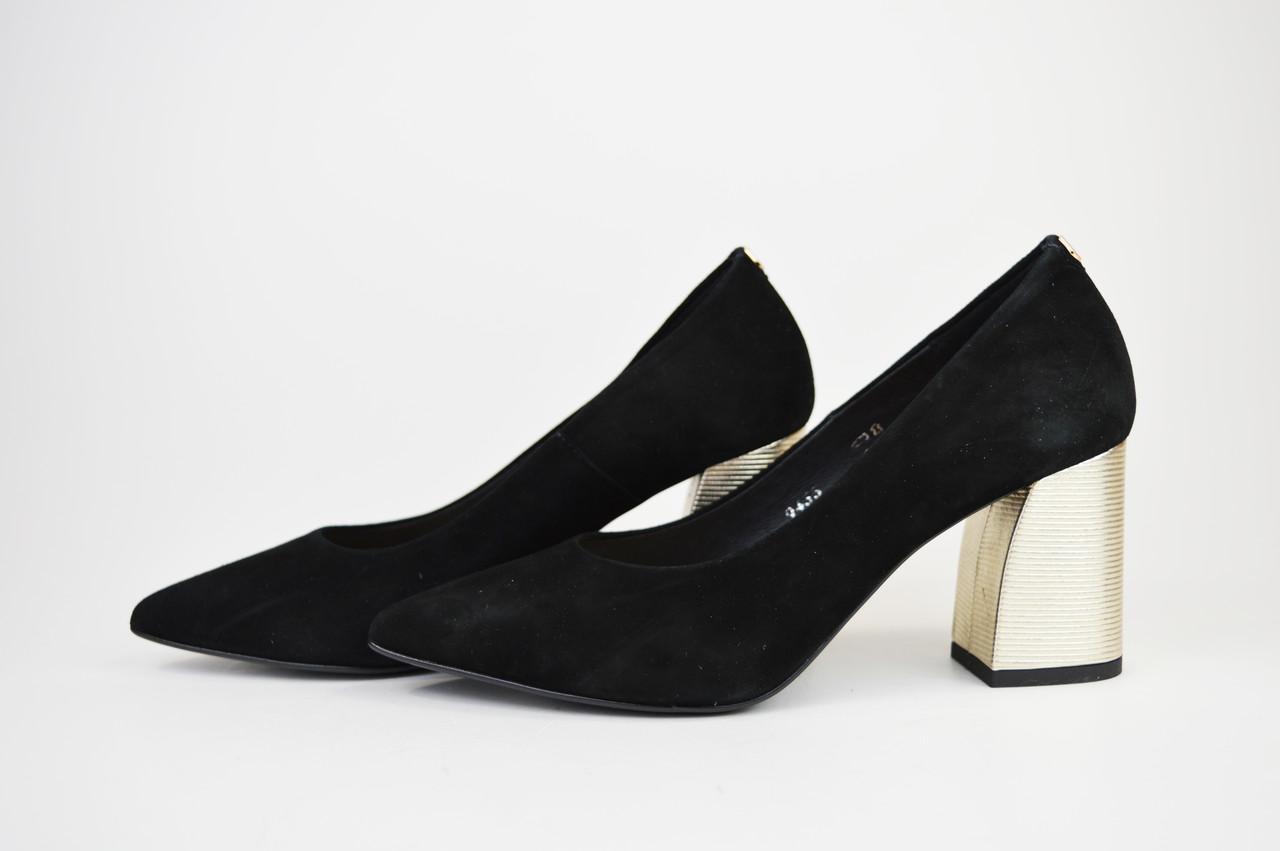 Туфли на невысоком каблуке SALA 9455 Черные замша