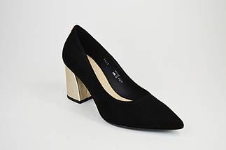 Туфли на невысоком каблуке SALA 9455 Черные замша, фото 2