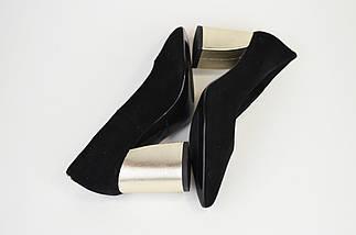 Туфли на невысоком каблуке SALA 9455 Черные замша, фото 3