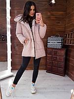 Розовая зимняя куртка- зефирка, фото 1