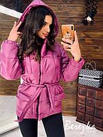 Малиновая дутая куртка с капюшоном и карманами, фото 1