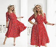 Платье на запах в горошек (3 цвета) ТК/-6051 - Красный, фото 1