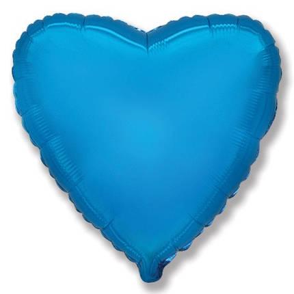 "Фол шар мини Flexmetal 9""/22см Сердце металлик синее (ФМ), фото 2"
