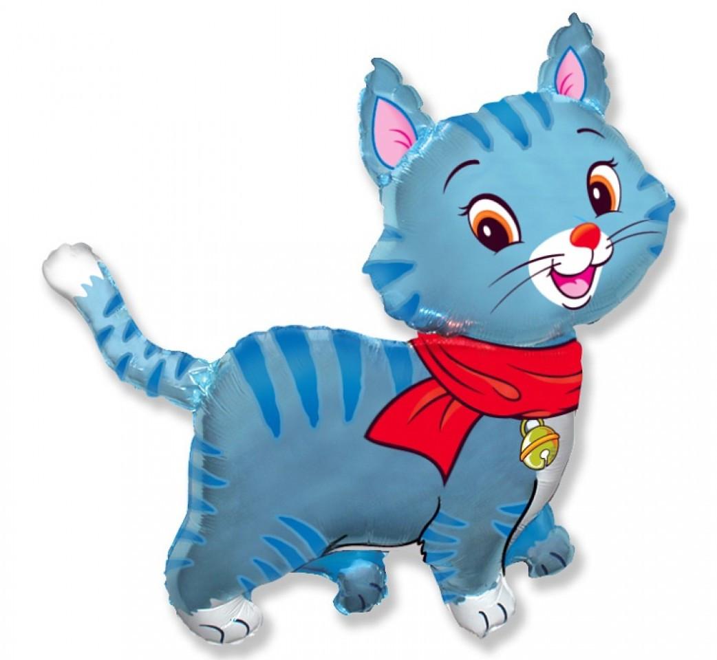 Фол шар МИНИ-ФИГУРА Кошка с шарфом Голубая (ФМ)