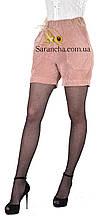 Модні молодіжні шортики з вельвету колір пудра