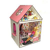 Двухэтажный Домик для кукол Барби с мебелью, обоями, шторами, 2 комнаты, 2 этажа