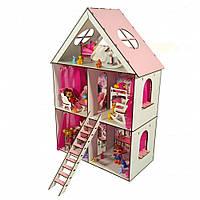 Домик для кукол LOL LITTLE FUN maxi с обоями, шторками, мебелью, лестницей, текстилем и шторками 62 см