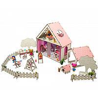 Домик для кукол LOL LITTLE FUN с Двориком, обоями, шторками, мебелью, текстилем и лестницей 40 см