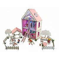 Домик для кукол LOL LITTLE FUN maxiсДвориком,обоями, шторками, мебелью, текстилем и шторками 62 см 5 комнат