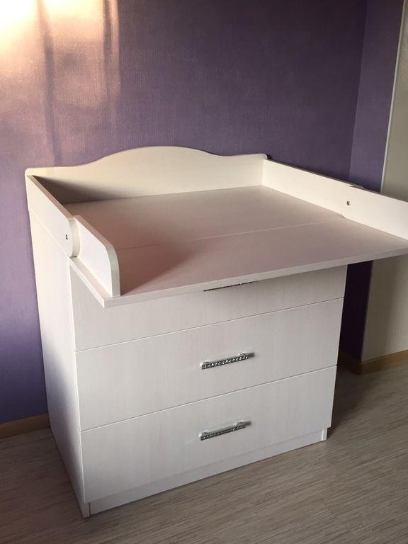 Дитячий сповивальний столик / комод білий 3 скриньки ДСП