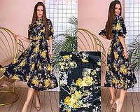 Платье миди в цветочный принт с высоким воротом и оборками