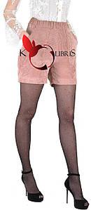 Черные вельветовые молодежные шортики цвета пудра