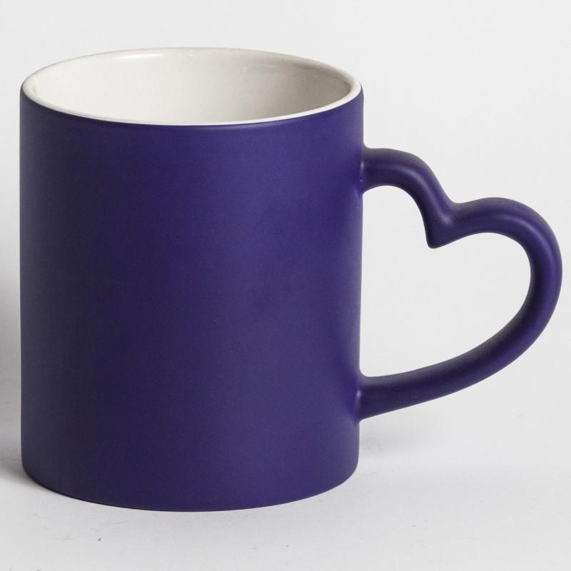 Чашка сублимационная хамелеон с РУЧКОЙ СЕРДЦЕ (синий)