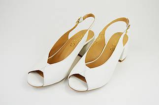 Босоніжки з розкльошені каблуком Marco 1573 Молочні, фото 2