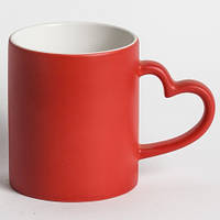 Чашка сублимационная хамелеон с РУЧКОЙ СЕРДЦЕ (красный)