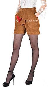Черные вельветовые молодежные шортики цвета рыжий