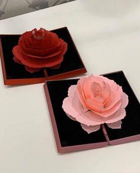 Футляр 3Д-Роза для колец (высокого качества) Премиум подарочная коробочка для кольца