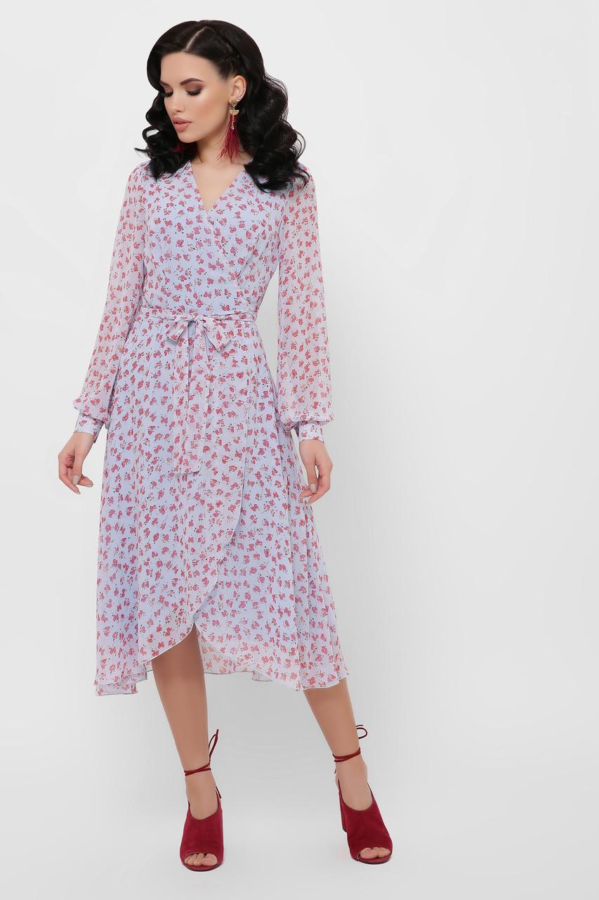 Женское платье голубое-цветы красные Алеста д/р