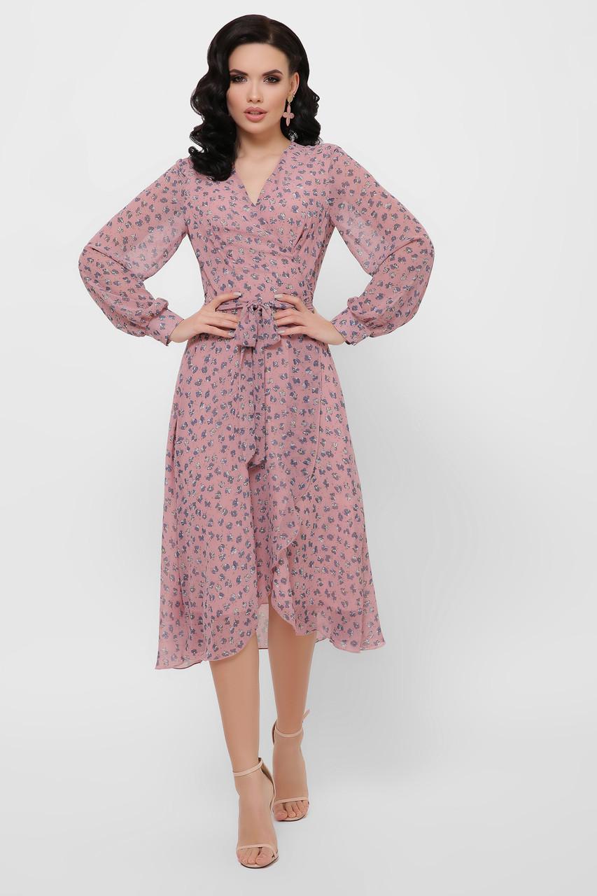 Женское платье лиловое-цветы синие Алеста д/р