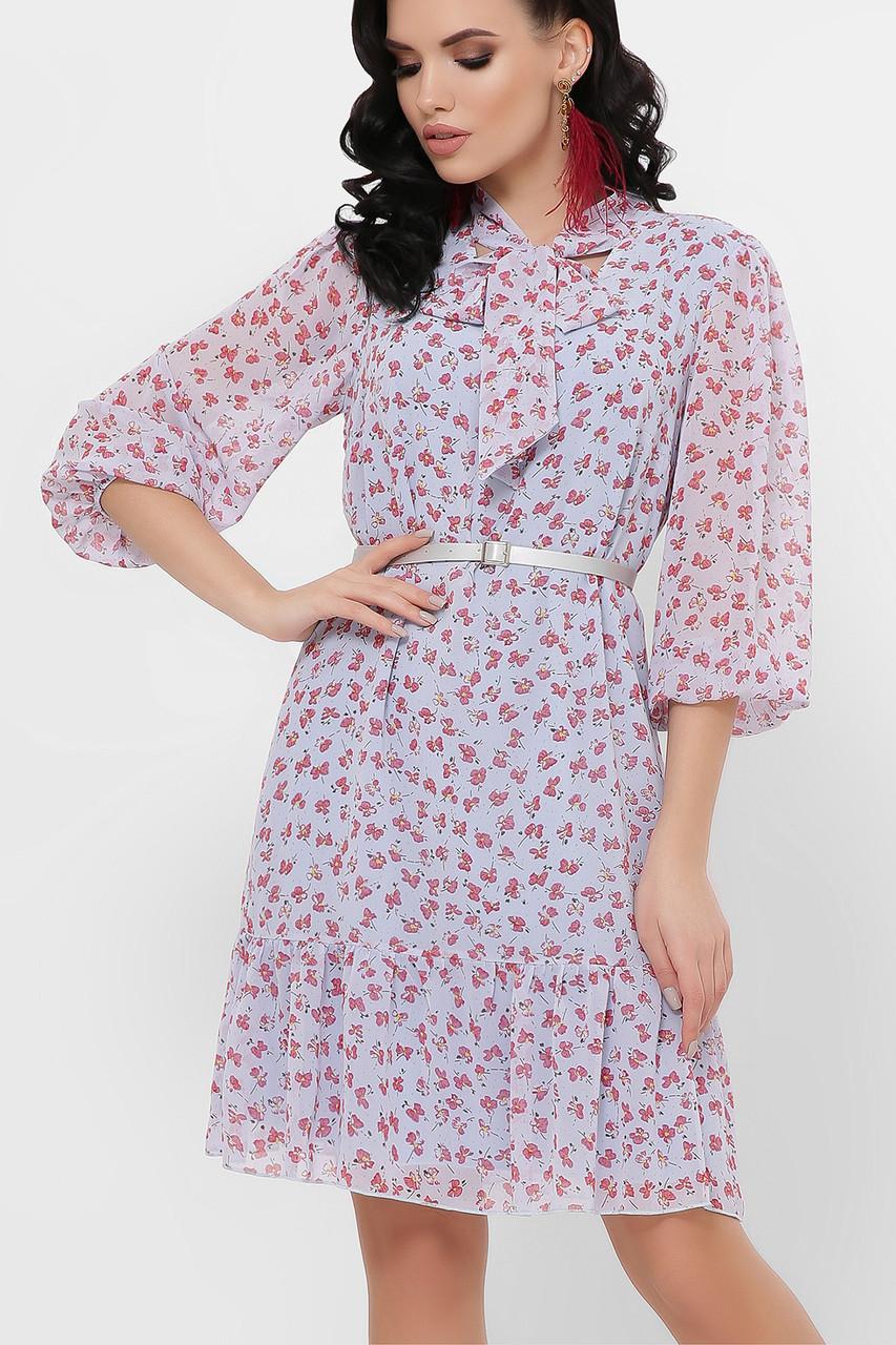 Женское платье голубое-цветы красные Малика д/р