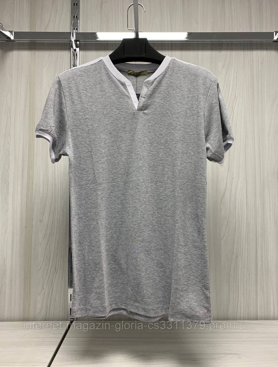 Мужская футболка MSY. 21373-8198(grey-white). Размеры: M,L,XL,XXL,XXXL.