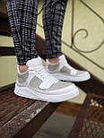 😜Кроссовки - Мужские белые кроссовки на шнурках с высоким языком, фото 3