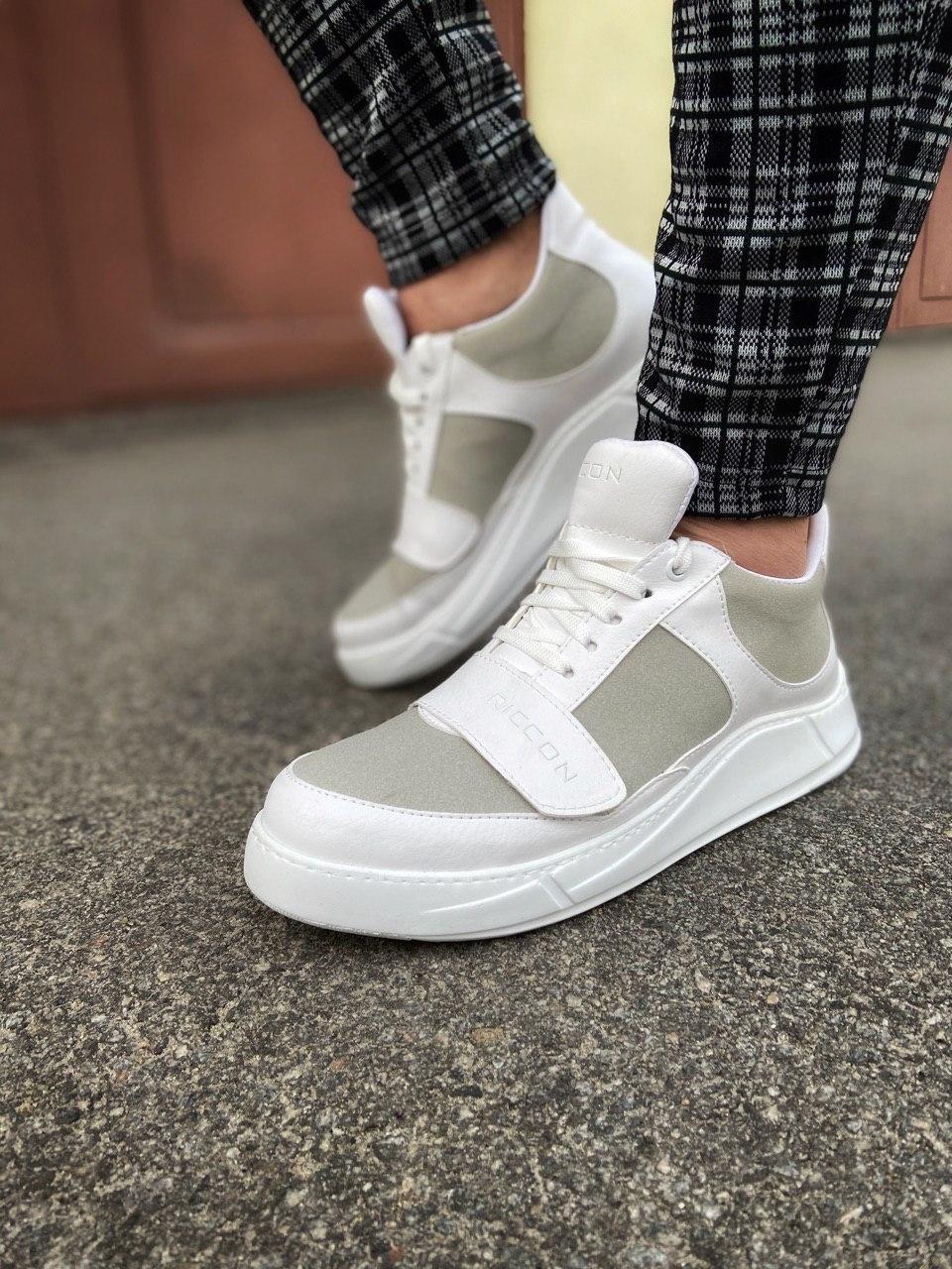 😜Кроссовки - Мужские белые кроссовки на шнурках с высоким языком