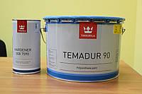 Эмаль краска грунт по металлу  акрилполиуретан 2 комп черная глянцевая для техники Temadur 90 tikkurila  2,7 л