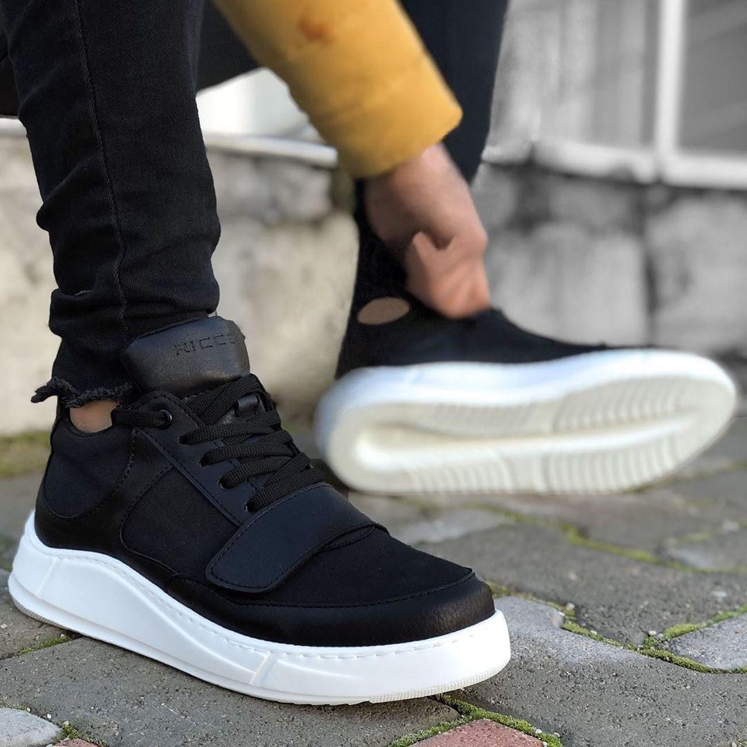 😜Кроссовки - Мужские черные кроссовки на шнурках с высоким языком