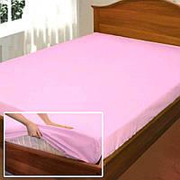 Трикотажная простынь на резинке Moz на матрас 200х200 + 30 см  Розовая