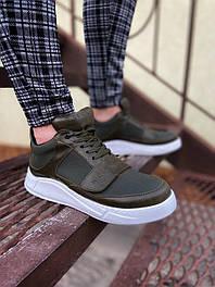😜Кроссовки - Мужские хаки кроссовки на шнурках с высоким языком