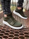 😜Кроссовки - Мужские хаки кроссовки на шнурках с высоким языком, фото 2