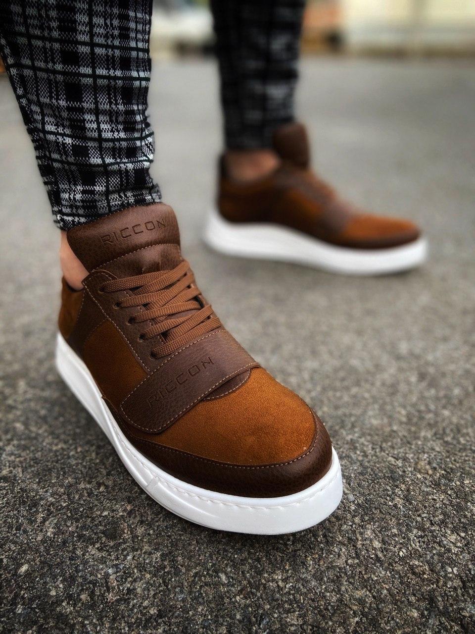😜Кроссовки - Мужские коричневые кроссовки на шнурках с высоким языком