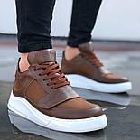 😜Кроссовки - Мужские коричневые кроссовки на шнурках с высоким языком, фото 2